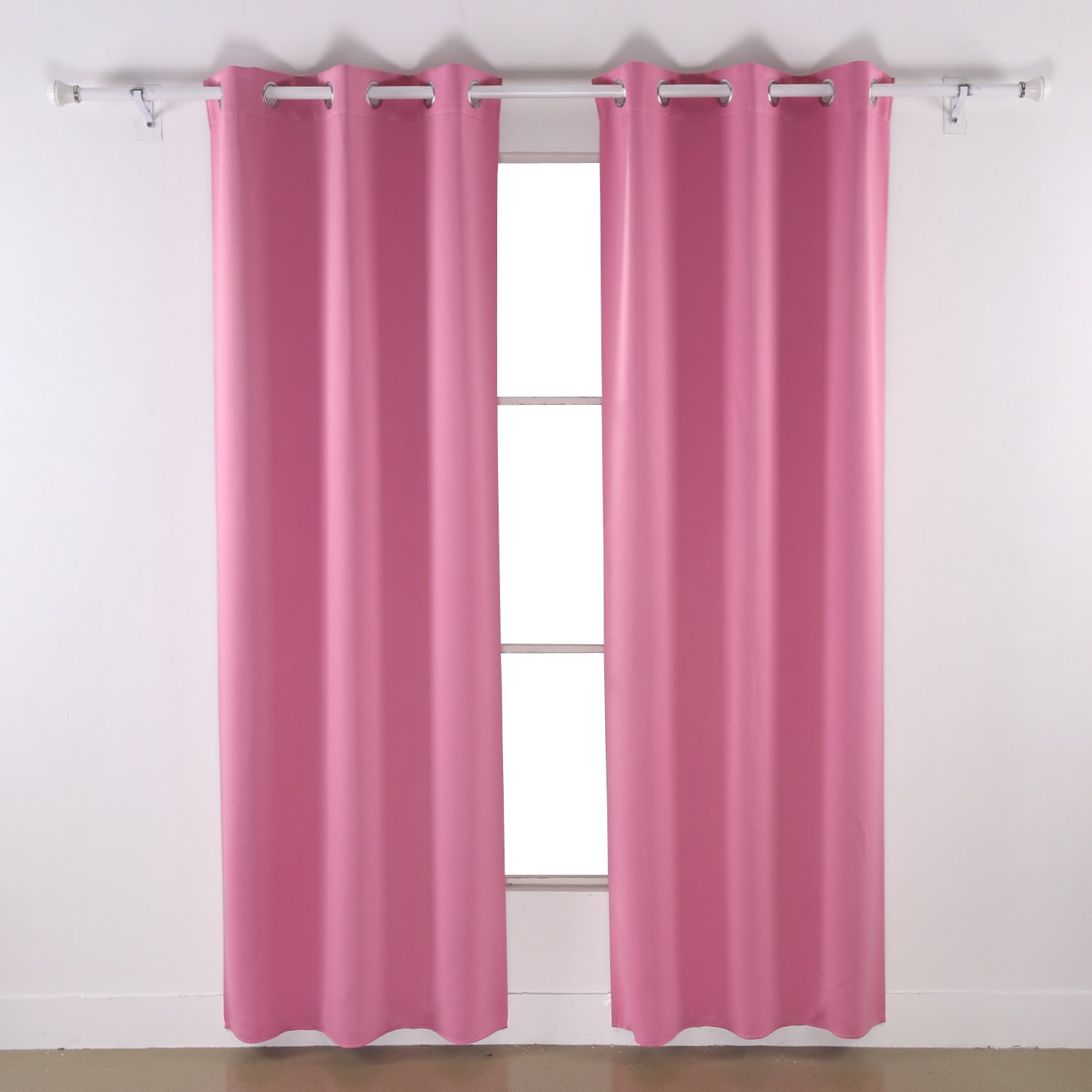 Deconovo Room Darkening Thermal Insulated Blackout Grommet Window Curtain Panel for Bedroom, Pink