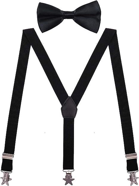 New Y back Kid/'s Boy/'s Suspender adjustable strap clip on /& bowtie navy blue
