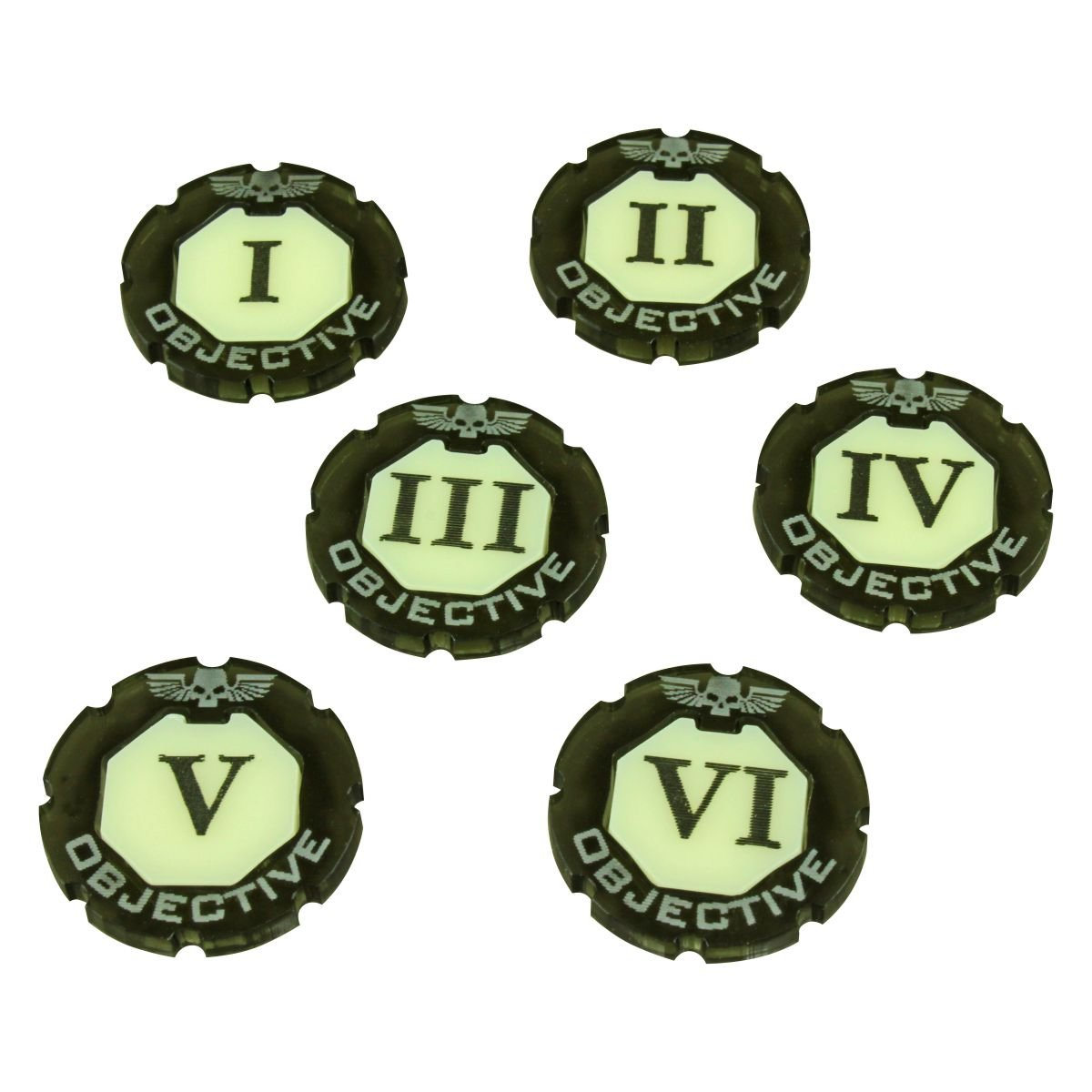 WHv8: Premium 2-tone, Objective Token Set, Numbered 1-6 (6)