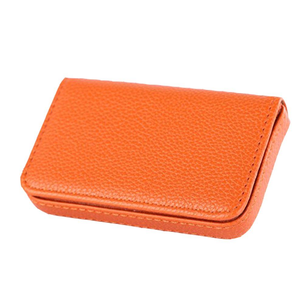 BesToo PuレザービジネスカードホルダーID名スチールケース Average  オレンジ B011GWDPH0