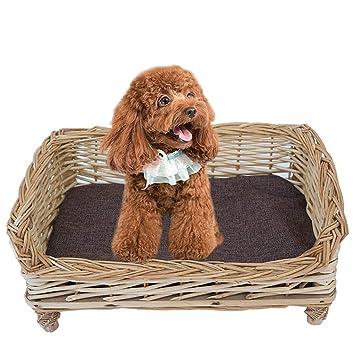 Amazon.com: JKFZD Cama de mimbre para mascotas, sofá de ...