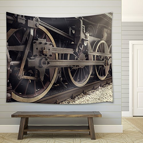 wall26 - Old Locomotive Wheels Close Up. - Fabric Wall Tapestry Home Decor - 51x60 inches