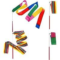 YuChiSX 2 Meter Danslinten, Ritmische Streamer Baton Twirling Gymnastic Ribbon, Rainbow Gymnastic Ribbon Dance Band with…