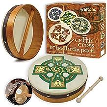 "Waltons Bodhrán 12"" (Gallen Cross) - Handcrafted Irish Instrument - Crisp & Musical Tone - Hardwood Beater Included w/Purchase"