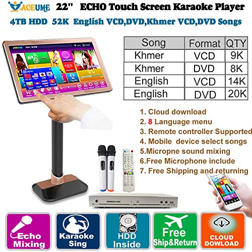 52k Players - 4TB HDD 52K Khmer/Cambodian VCD,DVD Songs,English VCD,DVD Songs 22'' Touch Screen Karaoke Player,Microphone Port,ECHO Mixing,Multilingual Menu,Multi-Way Seletc Songs, Remote Controller and Free Micro