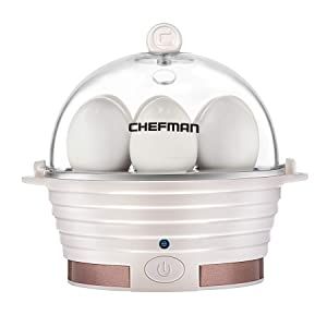 Chefman Electric Egg Cooker Boiler, Rapid Egg-Maker & Poacher, Food & Vegetable Steamer, Quickly Makes 6 Eggs, Hard, Medium or Soft Boiled, Poaching/Omelet Tray Included, Ready Signal, BPA-Free, Ivory