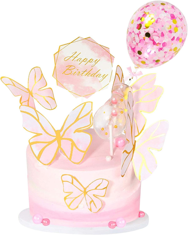 MMTX Decoracion Tarta Cumplea/ños Ni/ña Mariposas Decorativas Cake Topper con Happy Birthday Banner Topper Confetti Balloon Topper para Baby Shower Infantiles Ni/ña Birthday Decoration