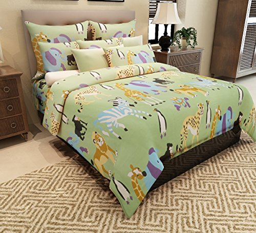 Home Candy 144 TC Animal Kingdom Kids Cotton Double Bedsheet with 2 Pillow Covers – Multicolor