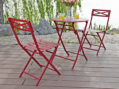 PHI VILLA Red 3 Pc Outdoor Weather-Resistant Metal Folding Table and Chairs Bistro Furniture Set