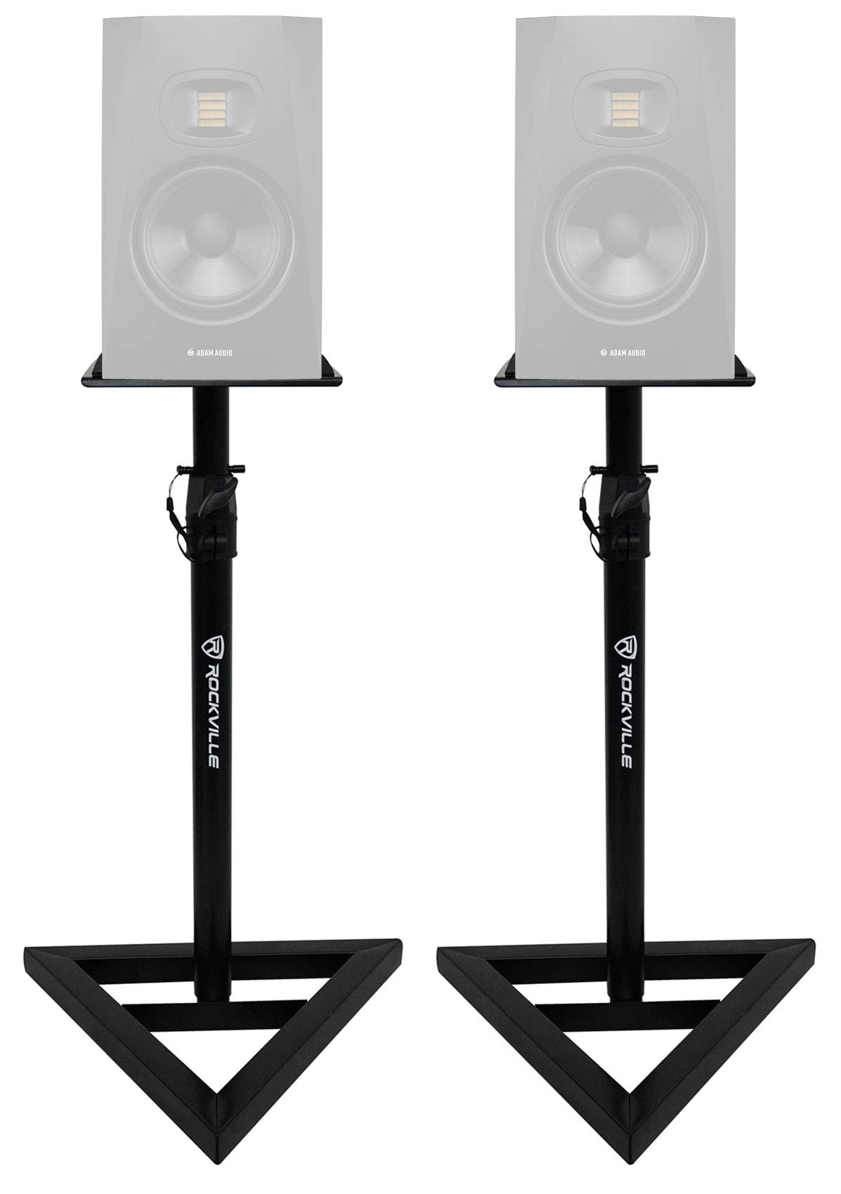 2 Rockville Adjustable Studio Monitor Speaker Stands For ADAM Audio T7V Monitors