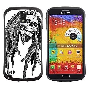 Hybrid Anti-Shock Bumper Case for Samsung Galaxy Note 3 / Rasta Skull