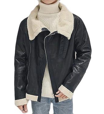 3524c0db8 ARTFFEL-Men Sherpa Lined PU Faux Leather Moto Biker Jacket Coat ...