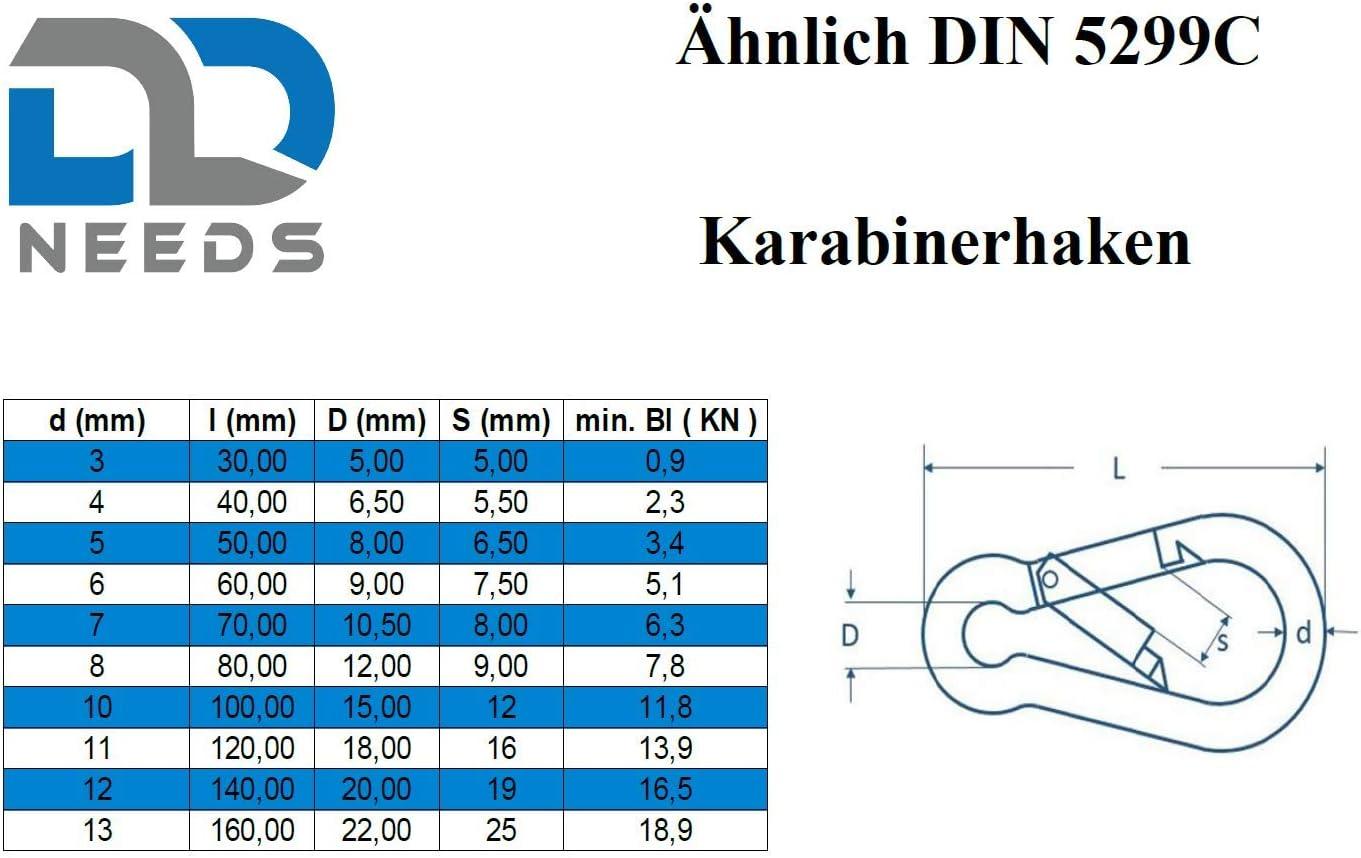 Semblable /à DIN 5299C en acier inoxydable A4 V4A Taille: 7 x 70 D2D PU: 4 pi/èces Mousquetons