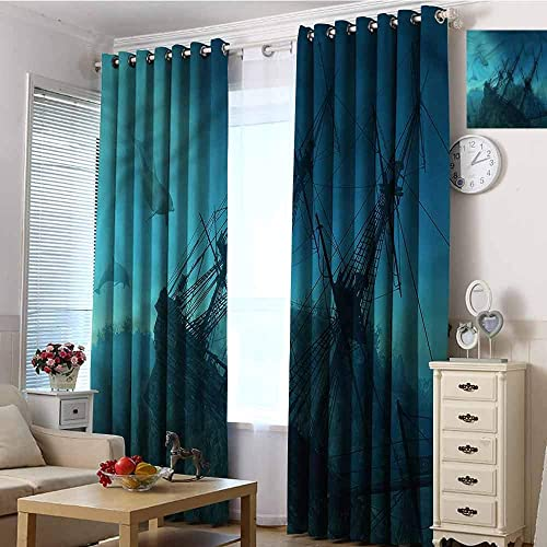 Andrea Sam Grommet Curtains Nautical,Dolphins Ship Sea,W104 by L84 Inch Room Darkening Thermal Insulated