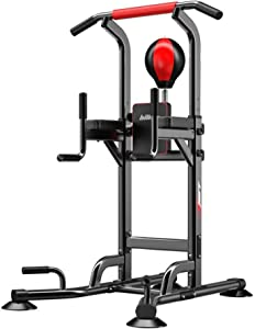 Wghz Multifunctional Power Tower Workout Station Parallel Diving Station Bars Cross Training Fitness Home Gym parallets with Boxing Ball