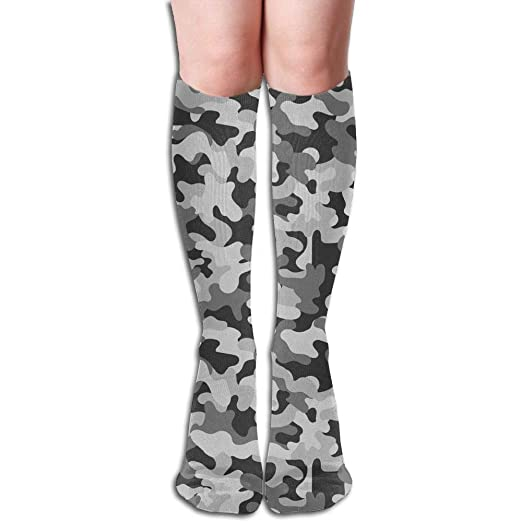 881af24778a Amazon.com  Seamless Military Grey Camouflage Knee High Socks Unisex  Polyester Cotton 50 CM Full Long Stockings  Clothing