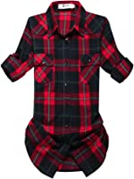 OCHENTA Women's Mid-Long Style Roll-Up Sleeve Plaid Shirt