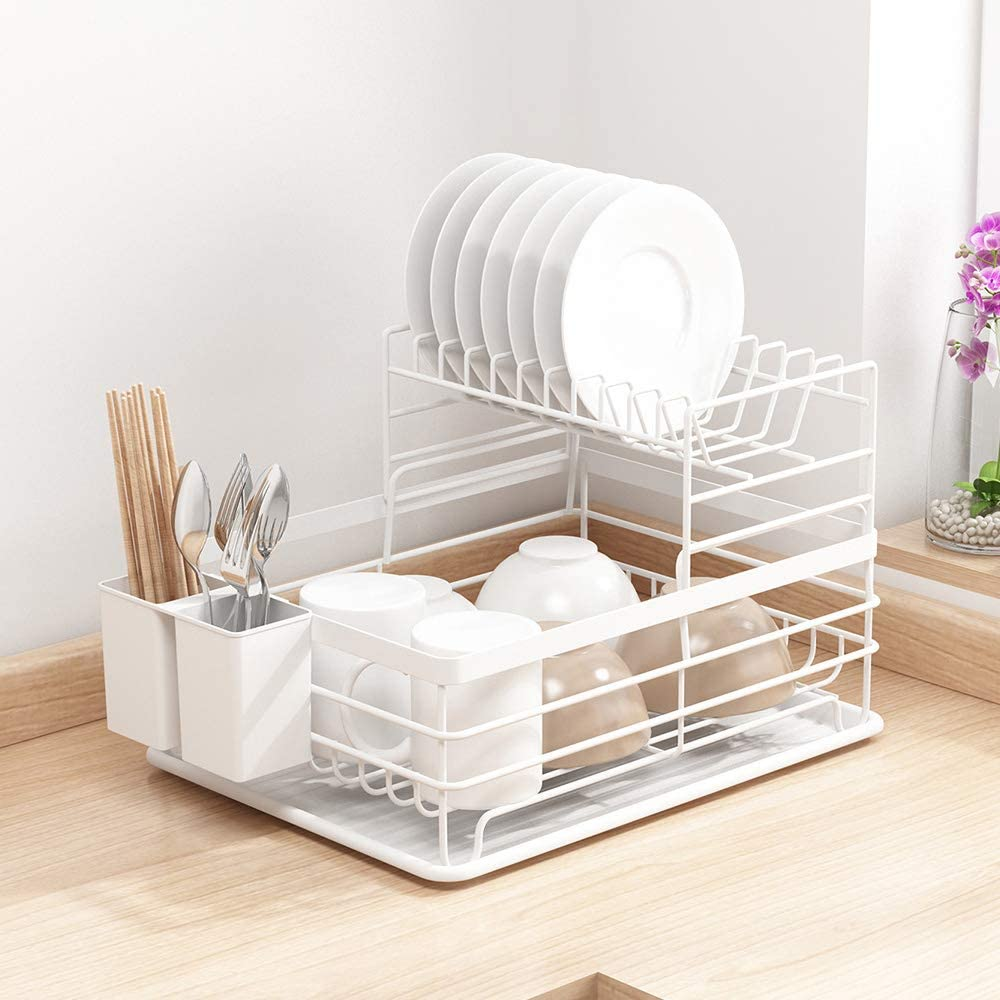 2 Tier Dish Rack with Utensil Holder for Air Dry Drain Board, Tomorotec Kitchen Plate Cup Dish Drying Rack Tray Holder Cutlery Dish Drainer Cup Holder and Dish Drainer for Kitchen Counter Top