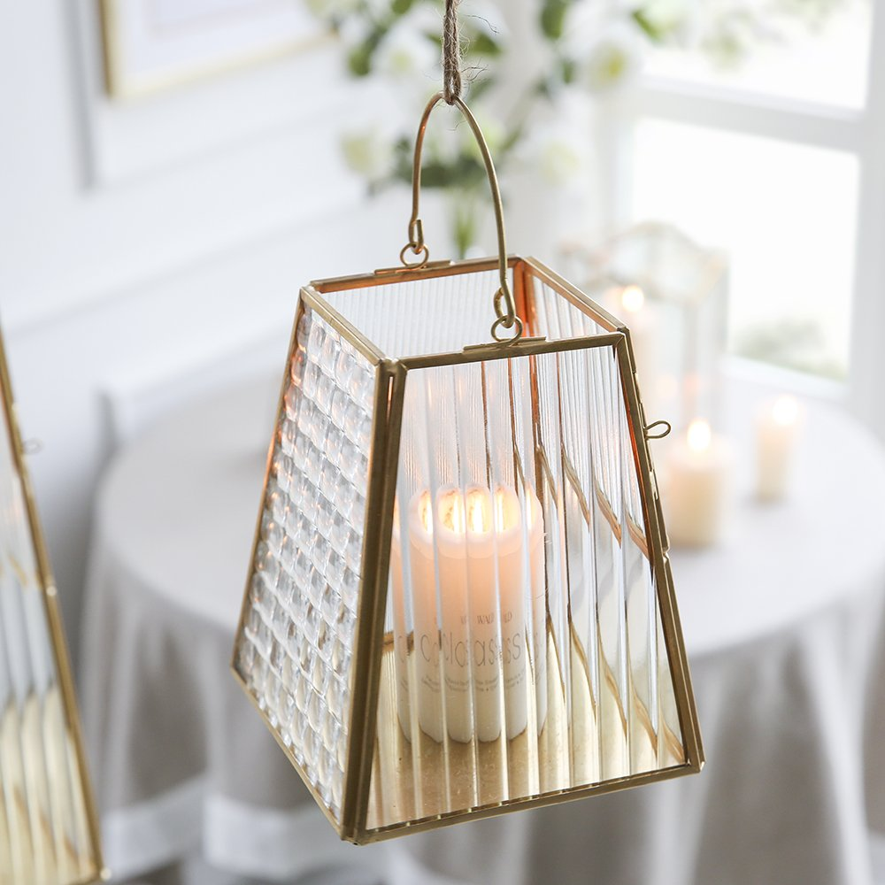 Cyl Home Candle Lanterns Textured Clear Crystal Glass Bronze Brass Frame Hanging Hurricane Tea Light Holder Lamp Centerpiece Decor Accent Gift Wedding Housewarming Tea Party, 5.9'' H x 5.1'' D