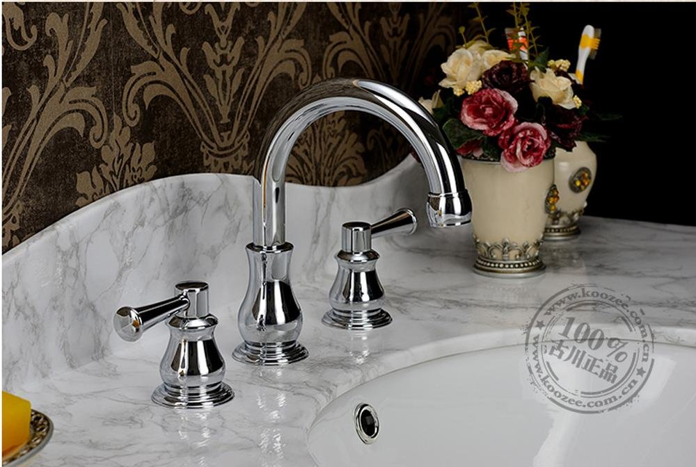 60%OFF SBWYLT-Furukawa authentic vintage-style faucet antique bronze 8 inch antique wash basin hot and cold copper three hole faucet , chrome color