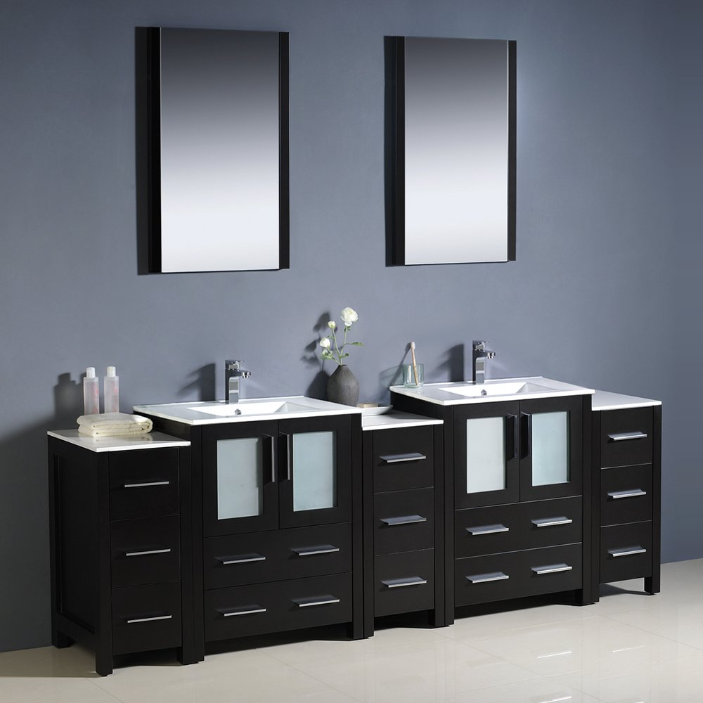 fresca bath fvnesuns torino  double sink vanity with  sidecabinets and sinks espresso   amazoncom. fresca bath fvnesuns torino  double sink vanity with