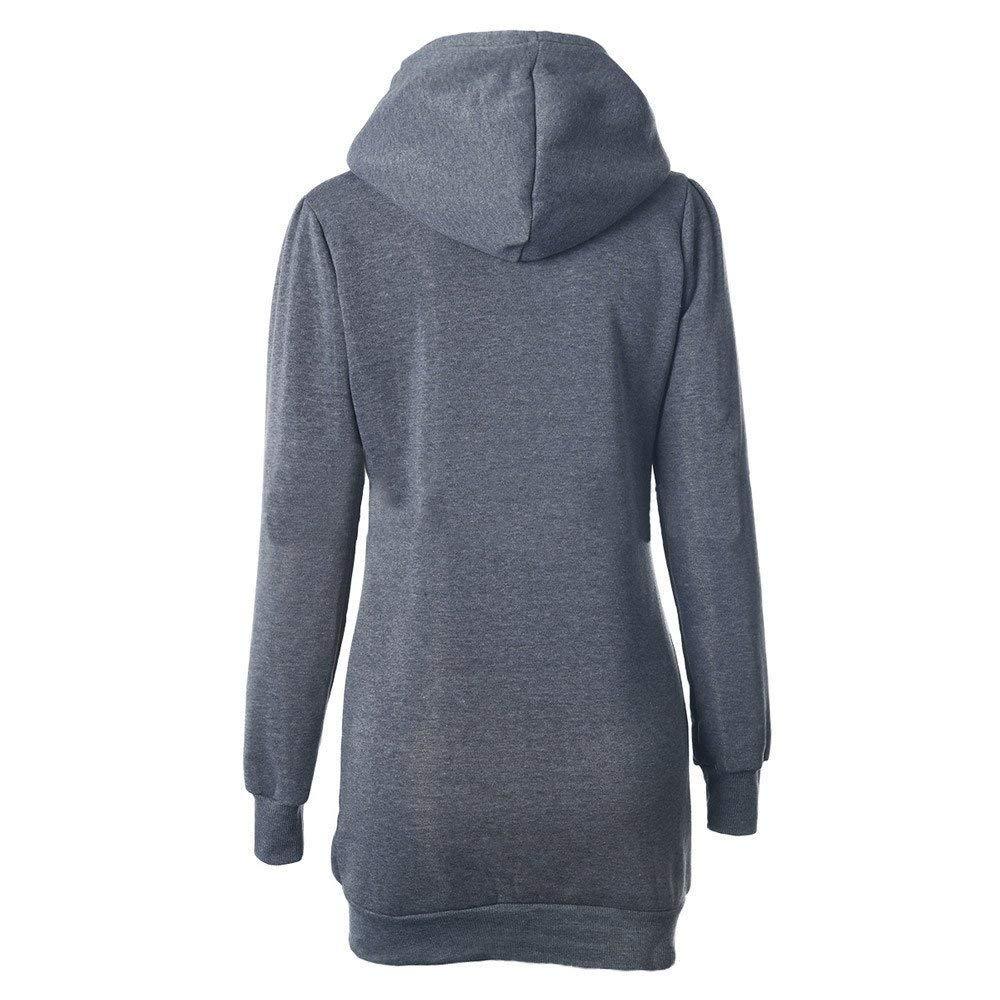 37428b93582f5b Streetwear Damen Farbe : Grau, Größe : L Oudan Mode-Taille-Taschen-Lange  Hoodie-Pullover-Frauen-beiläufige Lange ...