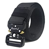 Tactical Belt, Military Style Adjustable Nylon Web Belt Heavy-Duty Riggers Belt with Quick-Release Metal Buckle