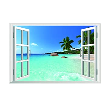 Large Removable Beach Sea D Window Decal WALL STICKER Home Decor - Window stickers for home uk