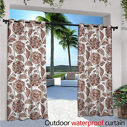 Pattern Neutral Light Earth (Floral Exterior/Outside Curtains W84 x L96 Earth Tones Blossom Chrysanthemums Cottage Foliage Ornamental Pattern for Patio Light Block Heat Out Water Proof Drape Warm Taupe Umber Blush)