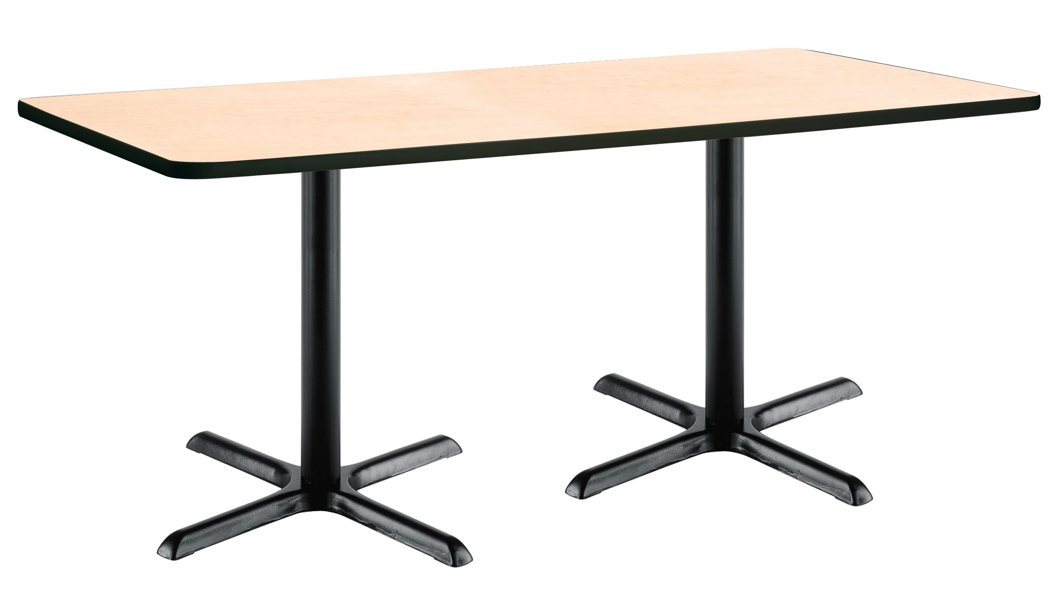 36'' x 72'' Pedestal Table with Natural Top, Black X-Base by KFI Seating