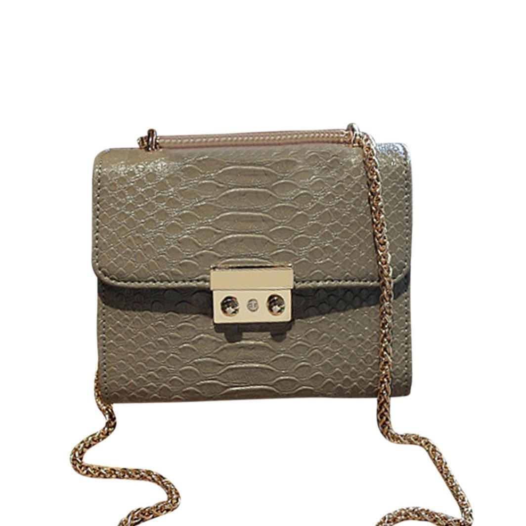 SanCanSn Fashion Lady Phone Coin Bag Women Crocodile Grain Crossbody Bag Shoulder Bag (1PC, Gray)
