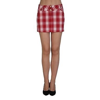 extyn go86 Quad.Rosso Rock, mujer Rock, falda, Minifalda, Rojo ...