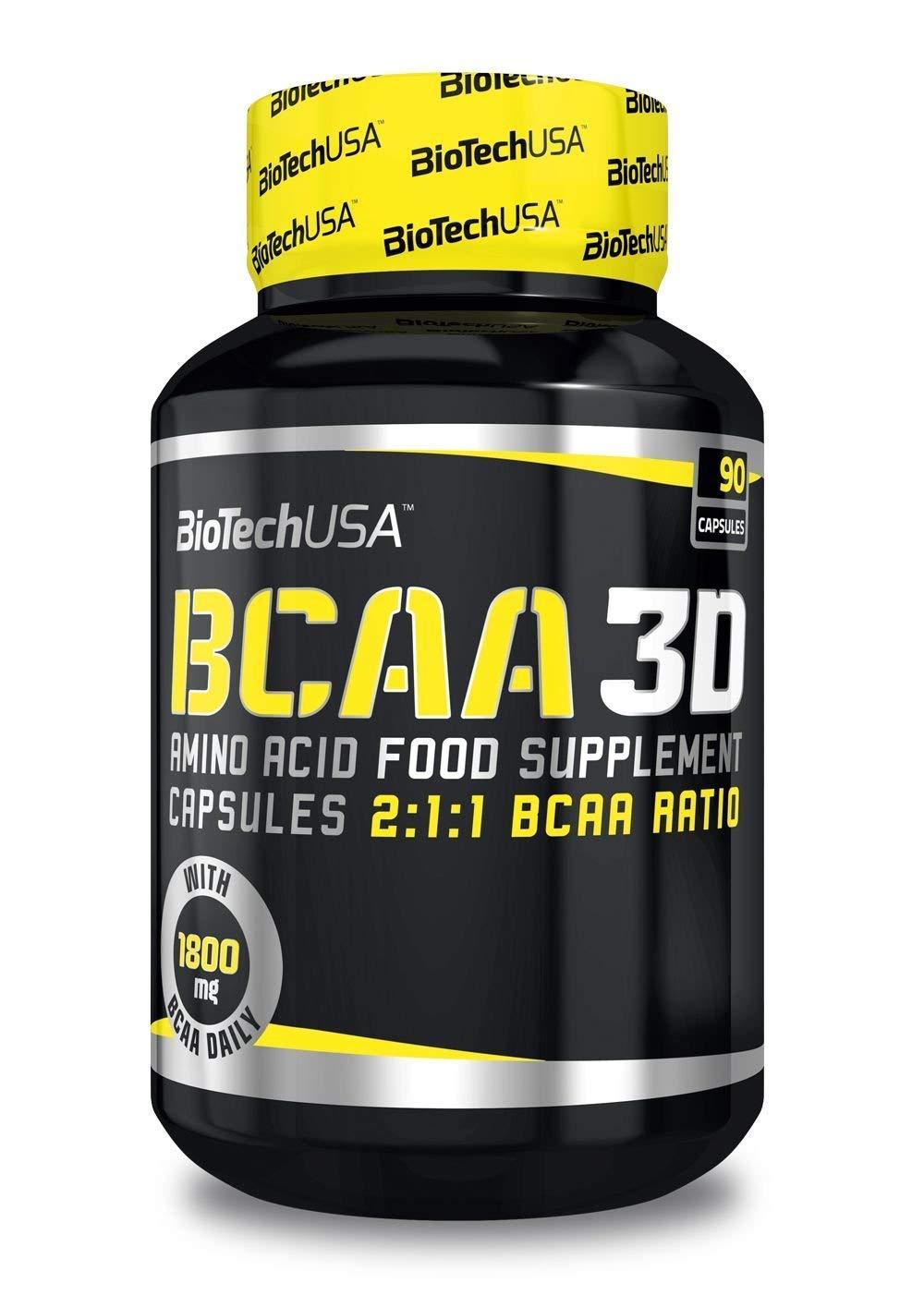 BIOTECH USA BCAA 3D / 180 Caps L-Leucine, L-Isoleucine and L-Valine in a 2:1:1 Ratio Branched Chain Essential Amino Acids Capsules
