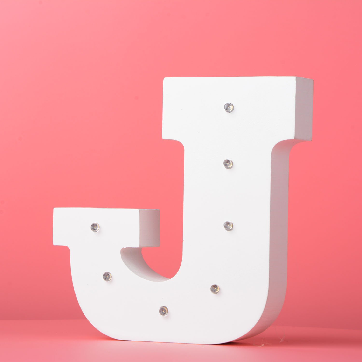 LED Light up Wooden Alphabet Marquee Wall Letter DIY White Letters Lights Sign with Battery Operated for Festival Party Wedding Holiday Birthday Christmas Valentine Bar (Letter J)