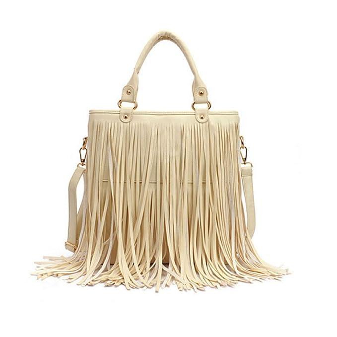 Zxcb Da In Frange Casual Morbida Abbigliamento A Amazon Grande Pu beige Con Donna Onesize Borsa it Tracolla gwrAgH