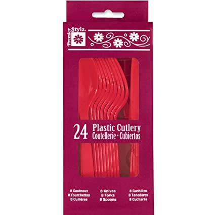 Red Plastic Silverware Set for 8 Guests (24pcs)