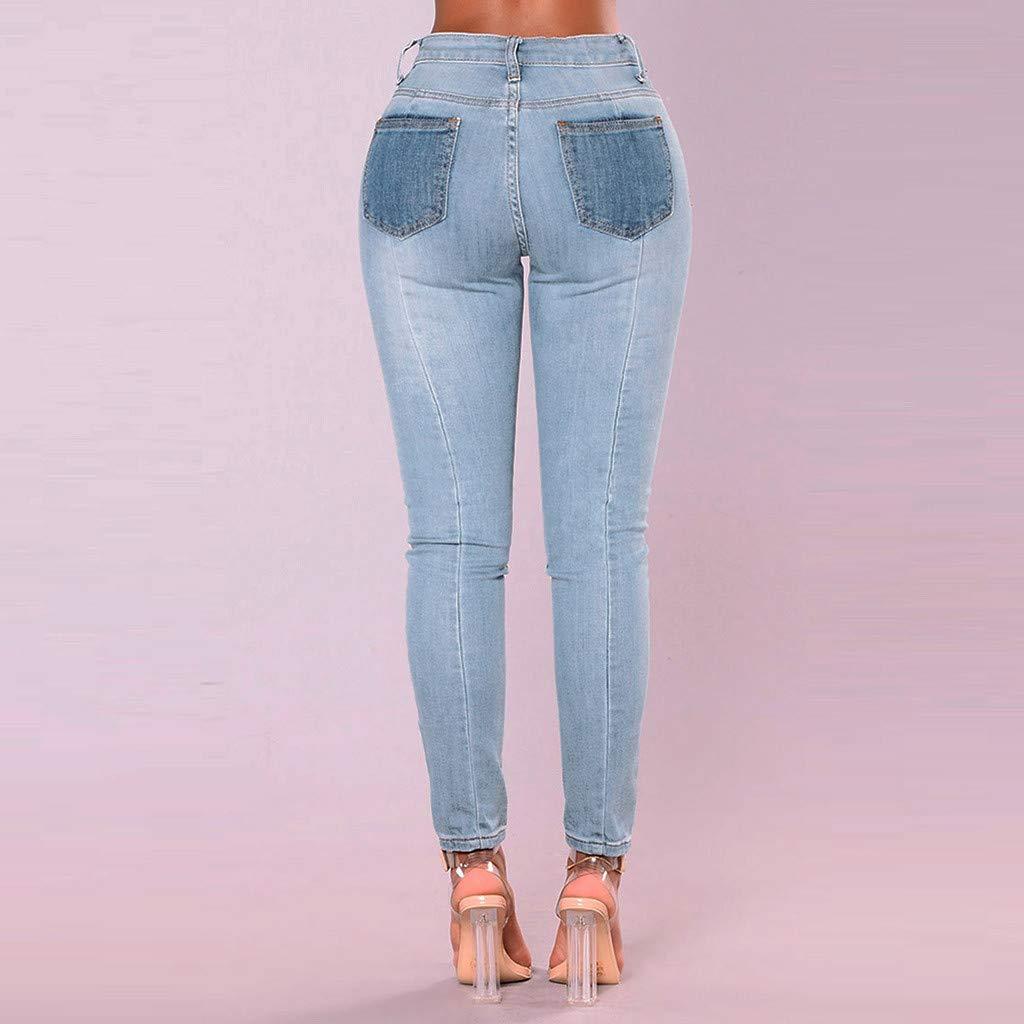 beautyjourney Leggings de Jeans Ajustados para Mujer Pantalones de Mezclilla de Retazos Casuales Pantalones Ajustados de l/ápiz Pantalones de Mezclilla de Cintura Alta Usados-Look