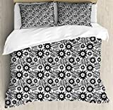 Black and White Duvet Cover Set Queen Size by Ambesonne, Nostalgic Tropical Flowers with Abstract Leaves Organic Exotic Plants, Decorative 3 Piece Bedding Set with 2 Pillow Shams, Black Grey White