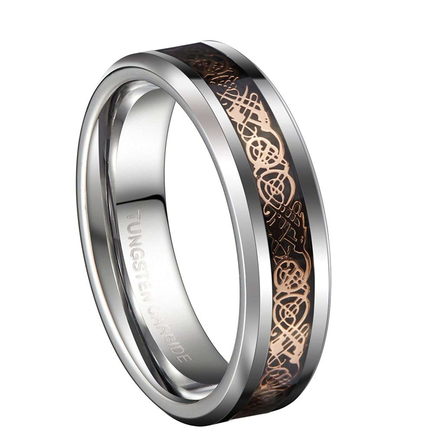 6mm Tungsten Carbide Wedding Band 18K Rose Gold Plated Celtic Dragon Engagement Matching Couple Ring