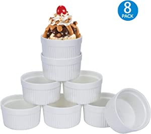 6 OZ Porcelain Ramekins, Set of 8, Souffle Dishes, Oven Safe Ceramic Bowls Serving For Creme Brulee, Custard, Lava Cakes, Pudding, Mini Desserts, Jam and Ice Cream, Ramekins For Baking