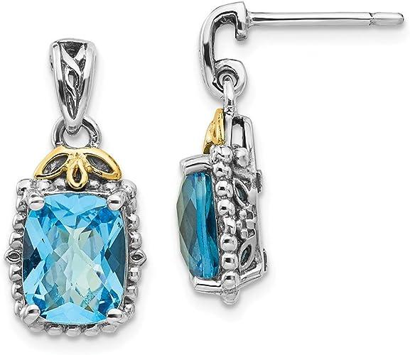 Sterling Silver with 14k Blue Topaz Earrings
