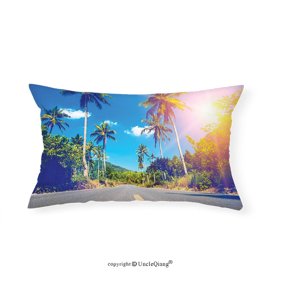 VROSELV Custom pillowcasesDorm Room Palm Trees Summer Joy Clouds Nature Tropical Beach Art Sun Fabric Room Dividers College Dorm Accessories Exotic Throws Bedroom Decor Blue Green Yellow(14''x24'')