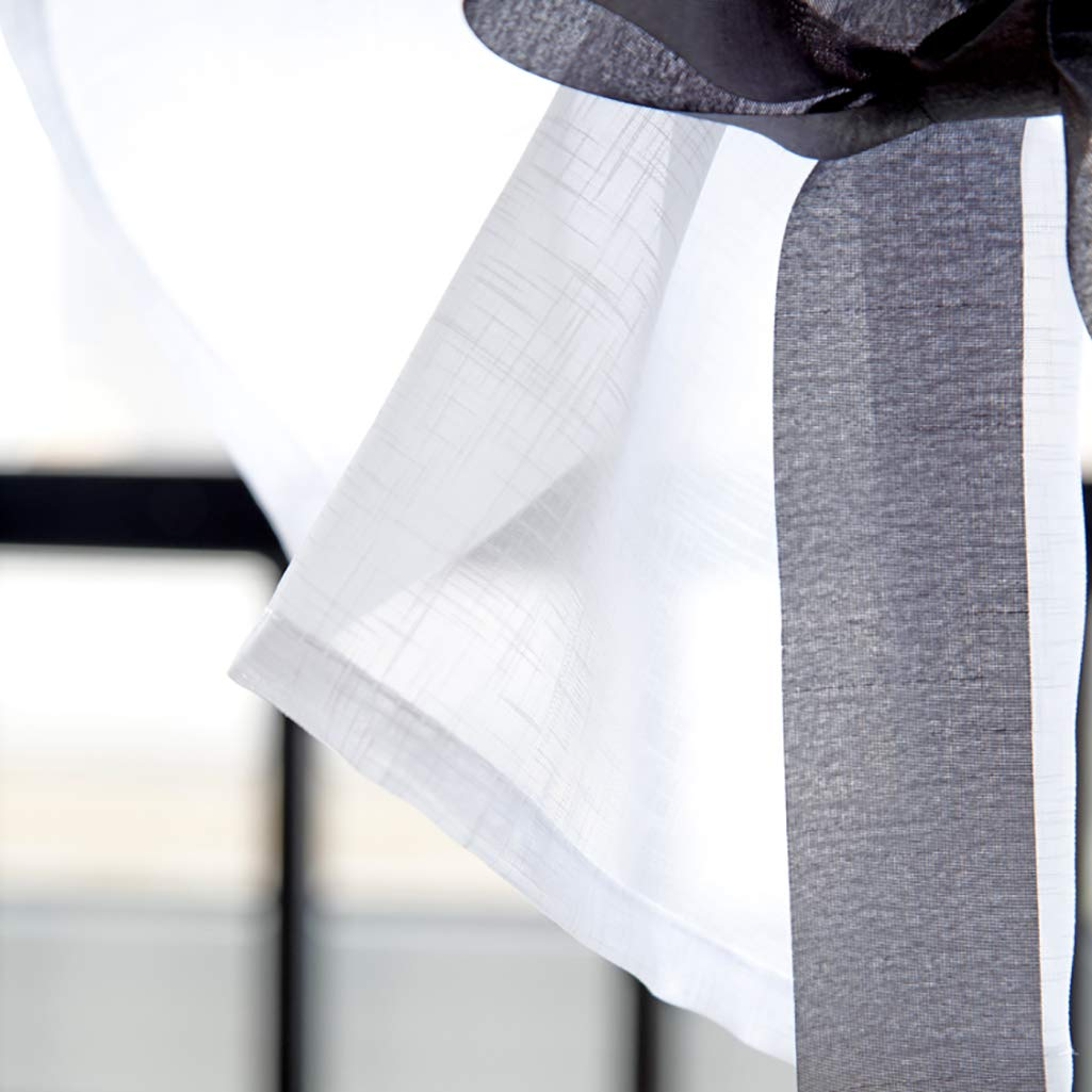 /Tenda voile sheer tendina parasole/ SIMPVALE 1/pezzi Tie Up/ /ricamo tulle tende pannelli Window cover per camera da letto bagno studio cucina 1 x Width 60cm // Height 120cm Grey