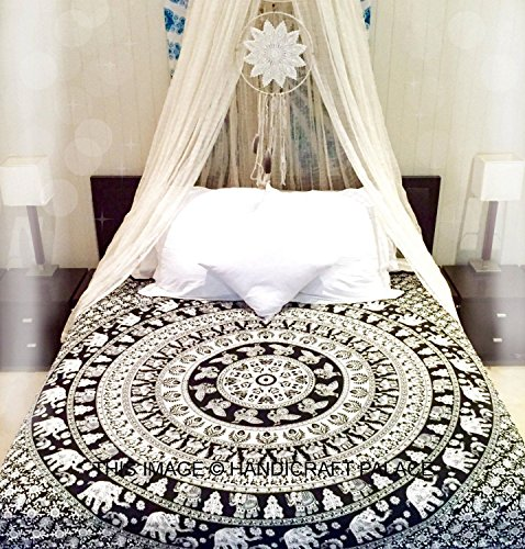 Rawyal-Black & White Elephant Tapestry,Camel Tapestry, Indian Wall Hanging,Hippie Indian Tapestry,Bohemian Wall Hanging,Wall Art,Indian Tapestry,Mandala Tapestry,Flower Tapestry by Rawyal