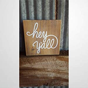 BYRON HOYLE Hey Y'all Wood Sign,Wooden Wall Hanging Art,Inspirational Farmhouse Wall Plaque,Rustic Home Decor for Living Room,Nursery,Bedroom,Porch,Gallery Wall