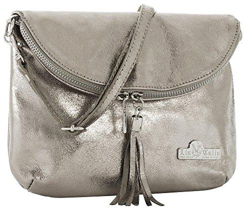 LiaTalia Real Italian Soft Leather Messenger Cross Body Shoulder Bag Mini/Small Size - Amy [Metallic - Pewter] - 1 Silver Handbag