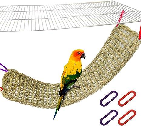 Pet Bird Parrot Parakeet Cage Grass Net Hammock Swing Toy Hanging Perch Chew Toy