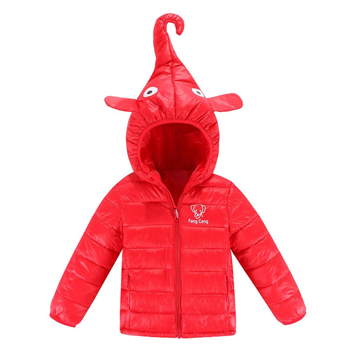 BenCreative Kids Boys Girls Hooded Jacket Cute Cartoon Elephant Nose Coat Winter Light Down Outerwear for 1-6 Years 181114QBMF
