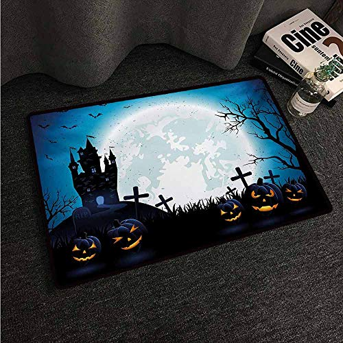 HCCJLCKS Pet Door mat Halloween Spooky Concept with Scary Icons Old Celtic Harvest Figures in Dark Image Holiday Print Non-Slip Door mat pad Machine can be Washed W30 xL39 Blue]()
