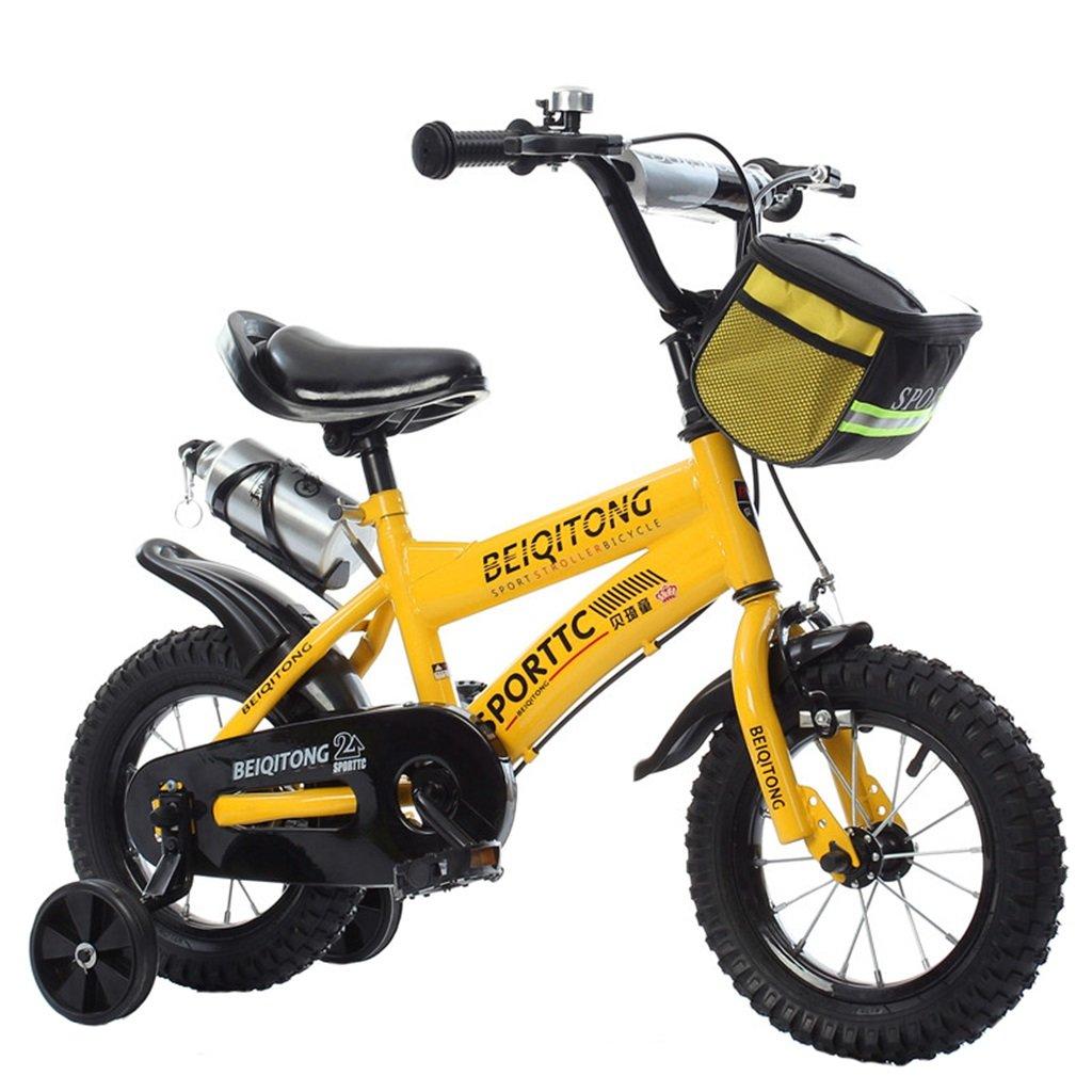 KANGR-子ども用自転車 子供用自転車適切な2-3-6-8男の子と女の子子供用玩具屋外用マウンテンバイクハンドルバーとサドルはトレーニングホイールで調節可能な高さにできますウォーターボトルとホルダー-12 / 14/16/18インチ ( 色 : イエロー いえろ゜ , サイズ さいず : 12インチ ) B07BTW64HH 12インチ|イエロー いえろ゜ イエロー いえろ゜ 12インチ